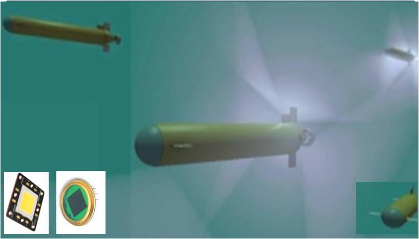 In questa immagine si vede la simulazione di robot sottomarini cooperanti