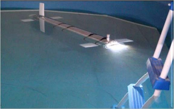 In questa foto si vede il robot sottomarino VENUS nella piscina del Laboratorio durante una fase di test.