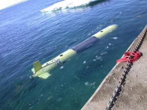 In questa foto si vede il robot SARA che inizia la sua missione nelle acque del mare antartico.